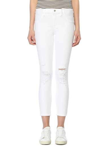 J Brand Slim Fit Yırtık Jean Pantolon Beyaz
